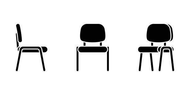 bildbanksillustrationer, clip art samt tecknat material och ikoner med isolerade platt stil kontorsstol vektor illustration ikonen pictogram set. framsida, sidovy silhuett på vit - stol