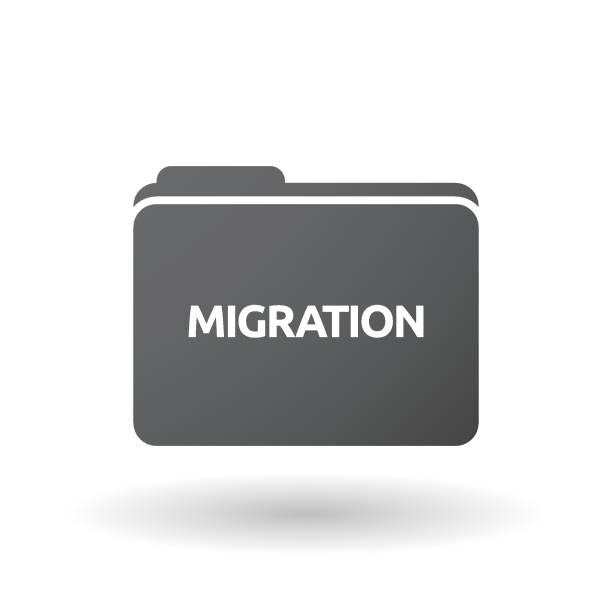 Isolated folder signal with  the text MIGRATION vector art illustration