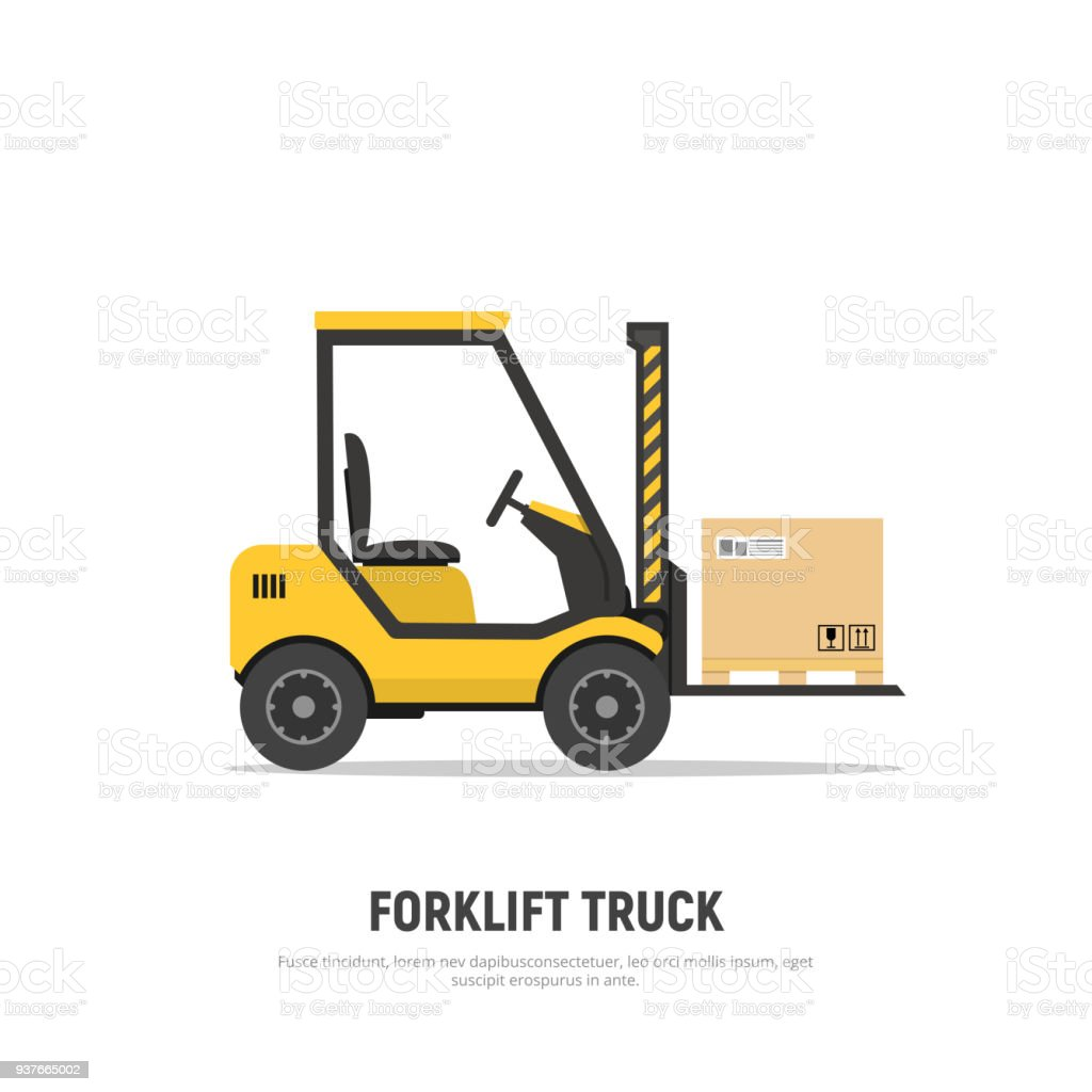 Isolated forklift truck with boxes on pallet on white background. Shipping. Distribution warehouse. Cargo delivery. Icon forklift. Vector illustration in flat style.