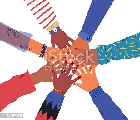 Friends high five concept. Illustration of people hands together for unity or diversity teamwork. Isolated friend group hand round with trendy retro fashion.