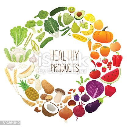 istock Isolated fruits and vegetables chromatic wheel 629864540