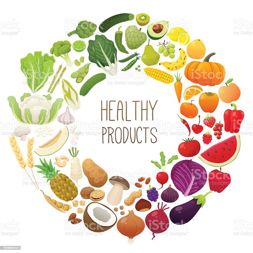 Isolated fruits and vegetables chromatic wheel – Vektorgrafik