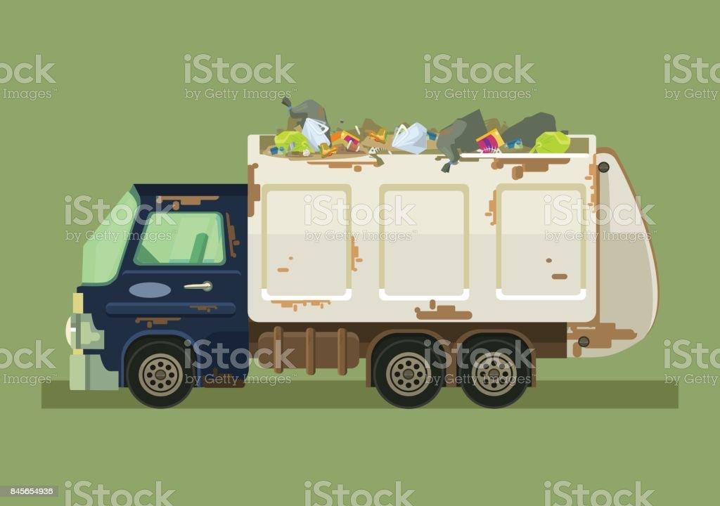Isolated garbage truck vector art illustration
