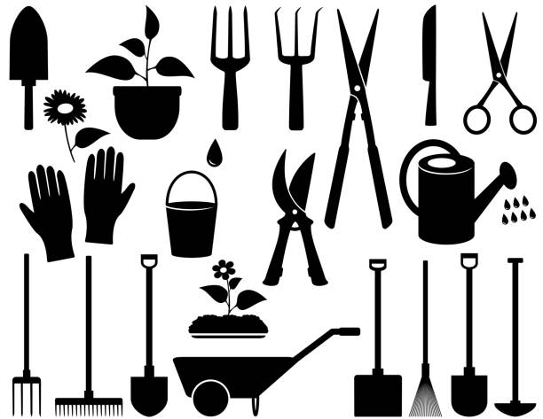 isolated garden tools agricultural set with black isolated garden tools gardening equipment stock illustrations