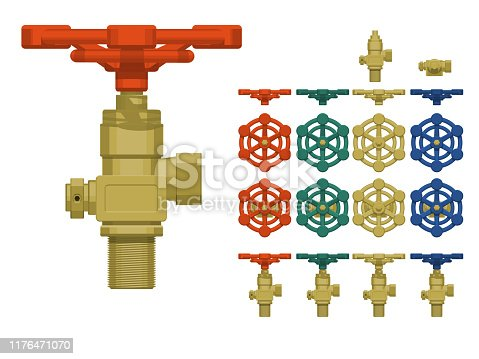 Isolated gas valve on transparent background