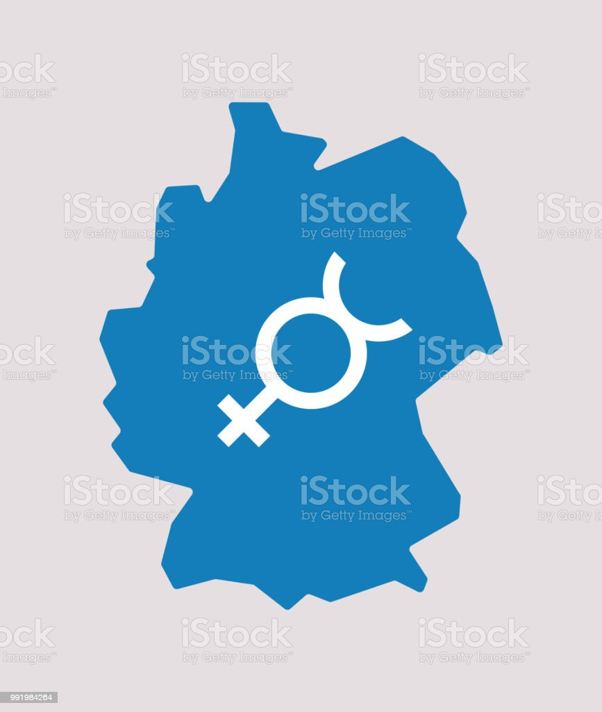Isolated Germany Map With The Mercury Planet Symbol Stock Vector Art