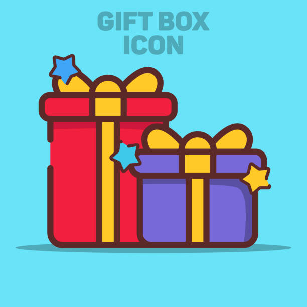 Isolated Gift Box Icon Vector Illustration with Blue Background vector art illustration