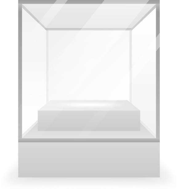 isolierte glas box 3d realistisch shop mockup hintergrund design vektor-illustration - kastenständer stock-grafiken, -clipart, -cartoons und -symbole
