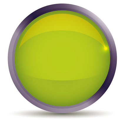 Isolated Glossy Green Button with Metallic Frame