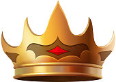 Isolated gold crown realistic icon illustration