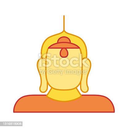istock Isolated golden buda religious icon 1316818906