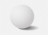 Isolated golf ball on transparency grid - Vector Illustration