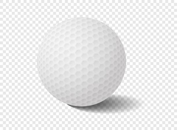 6ea08f75 Isolated golf ball on transparency grid - Vector Illustration vector art  illustration · Vector white realistic golf ball template on tee ...