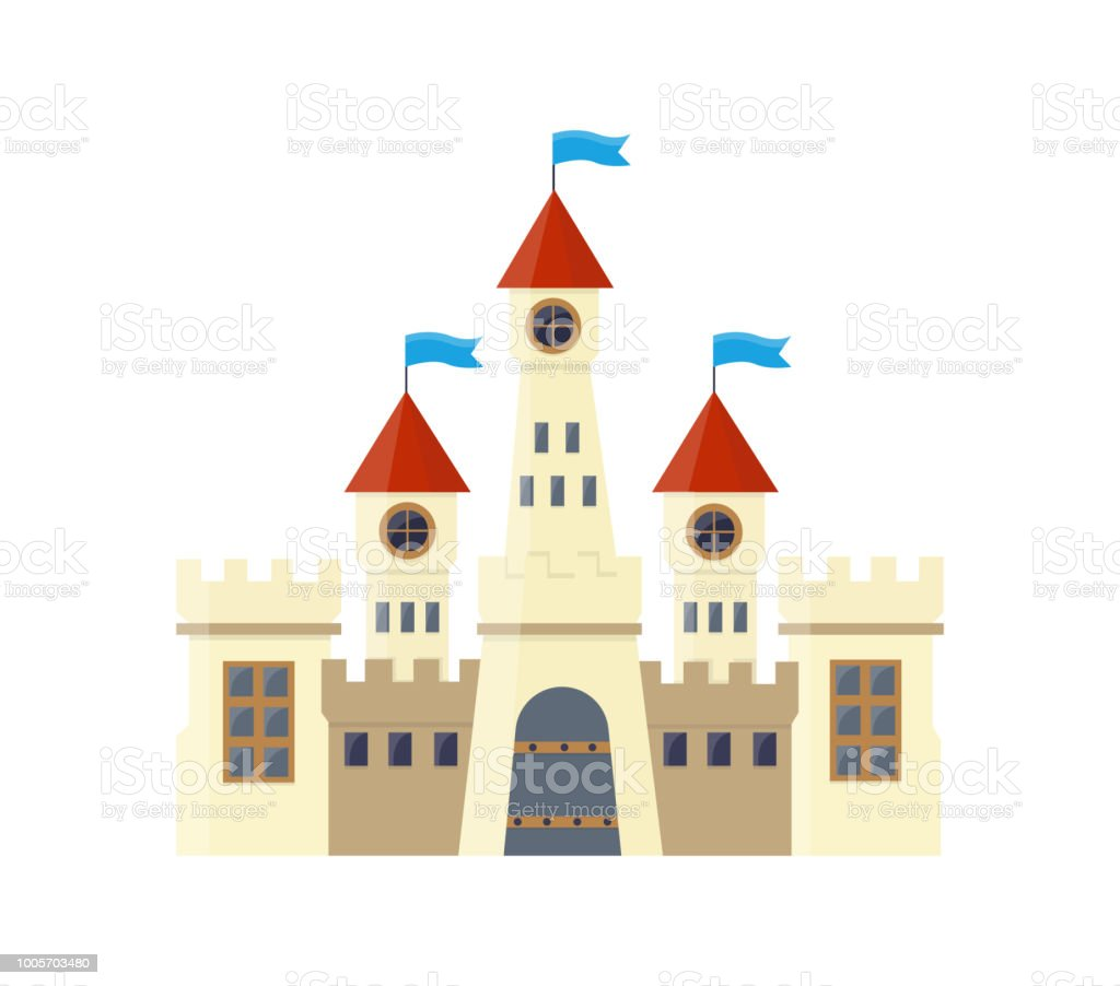 Isolated Grand Royal Vector Castle With Spiers And Flags Stock