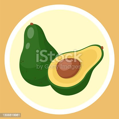 istock Isolated green avocado, piece of avocado with pit, natural organic alligator pear, eco product 1306819981
