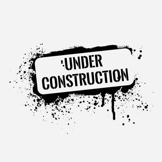 Isolated grunge under construction graffiti vector art illustration