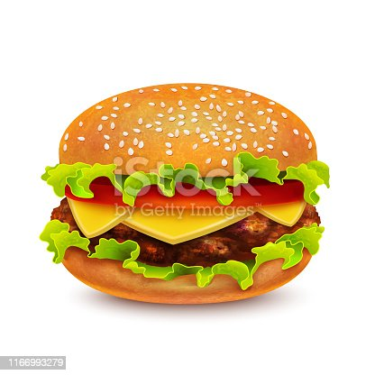 Burger. Isolated Hamburger in Realistic Style for Fliers Banners Prints Posters Menu Ads. Vector Illustration