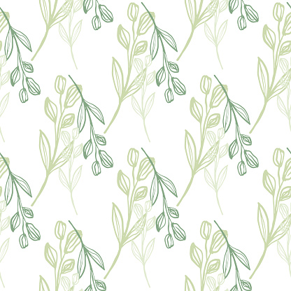 Isolated hand draw design with bouquet green flowers. Seamless pattern on white background.