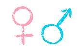 Isolated hand draw set of  female and male sign. Paint gender logo. Health care and medicine. Venus and Mars vector symbol