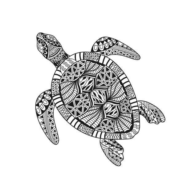 Isolated hand drawn black outline abstract ornate turtle on white background. Ornament of curve lines. Page of coloring book. Isolated hand drawn black outline abstract ornate turtle on white background. Ornament of curve lines. Page of coloring book turtle stock illustrations