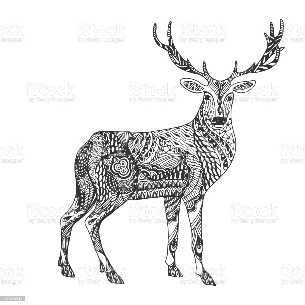 Isolated Hand Drawn Black Outline Monochrome Abstract Ornate Deer On ...