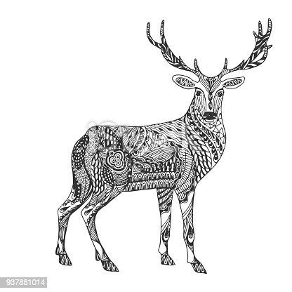 ᐈ Imagen De Aislado Mano Dibujado Venado Recargado Resumen