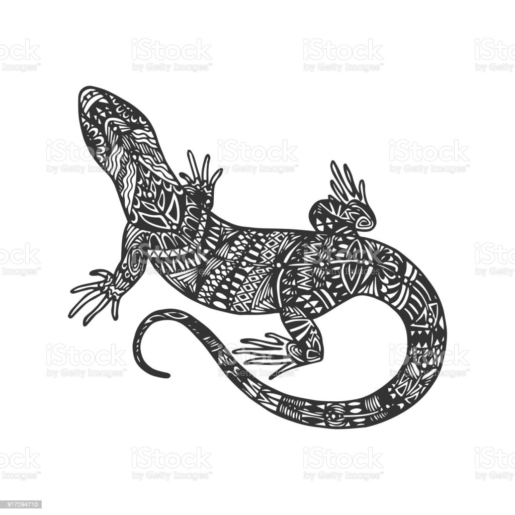 isolated hand drawn black outline monochrome abstract ornate lizard