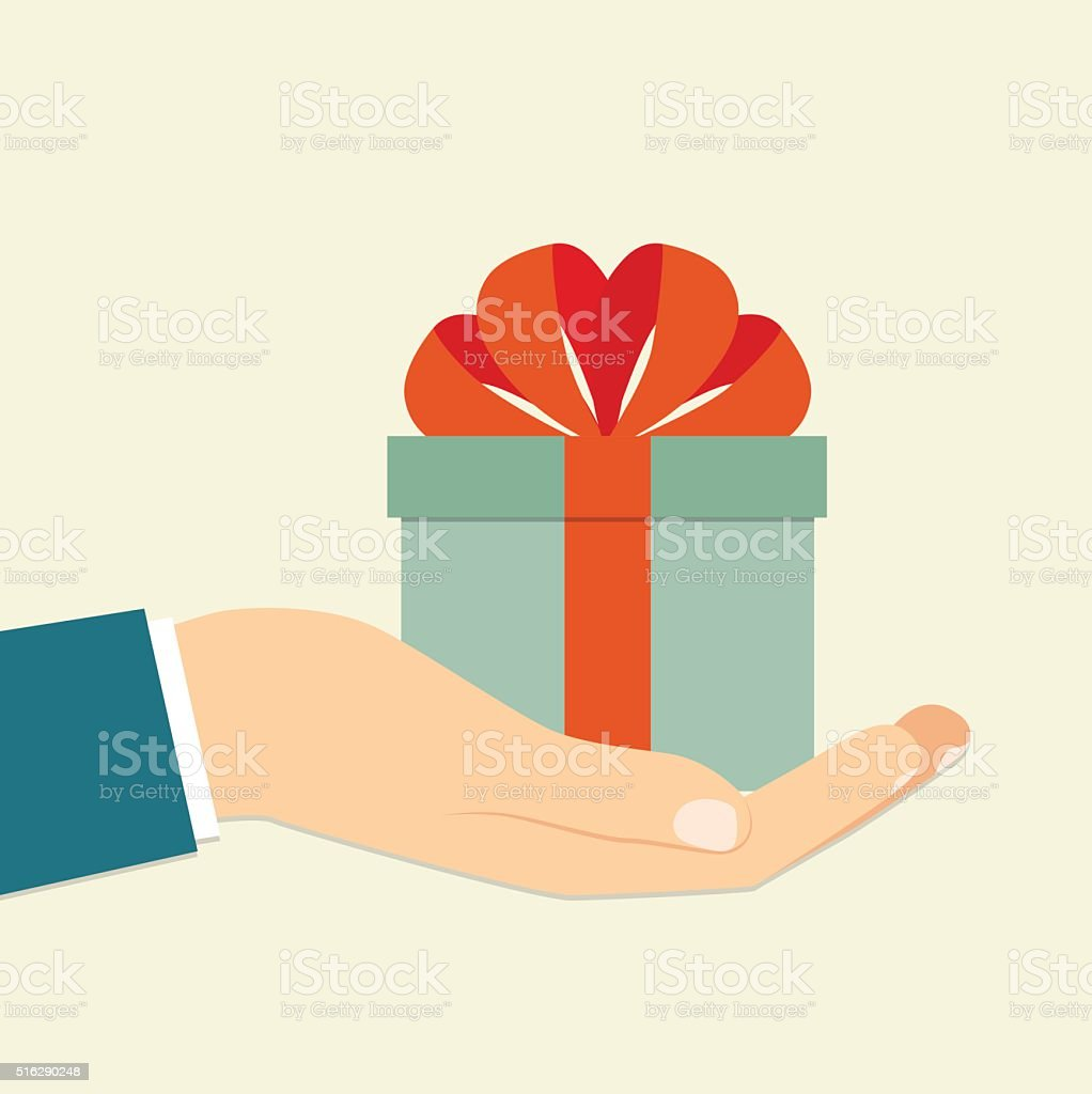 Isolated  hand holding blue gift box . Vector flat illustration vector art illustration