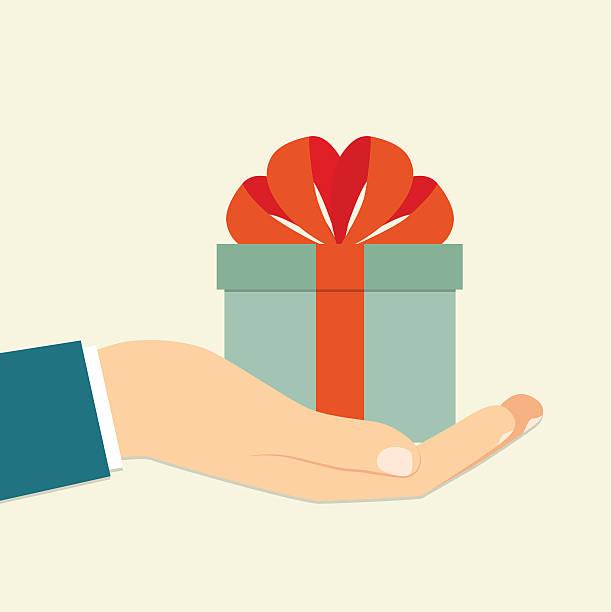 isolierte hand halten blau geschenk im feld. vektor flache illustrationen - geburtstagsgeschenk stock-grafiken, -clipart, -cartoons und -symbole