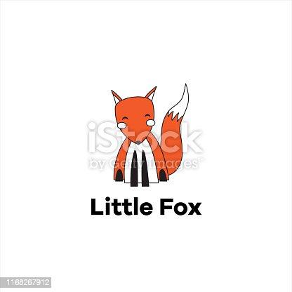 Isolated hand-drawn cute orange flat fox logo