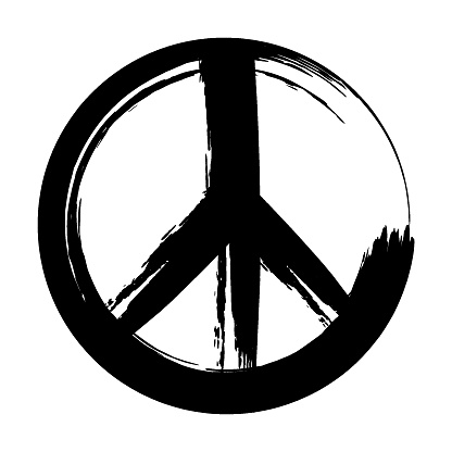 Isolated hand-drawn peace symbol, drawn with brush strokes in black ink