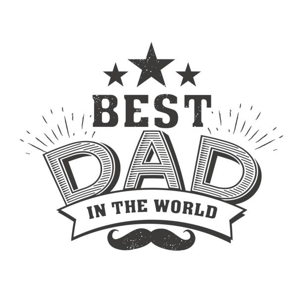 isolated happy fathers day quotes on the white background. best dad in the world.congratulation label, badge vector. mustache, stars elements for your design - father stock illustrations, clip art, cartoons, & icons