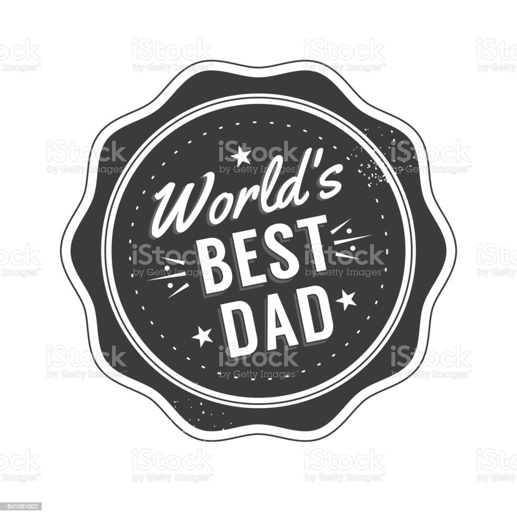 Isolated Happy fathers day quotes on the white background. World's best dad. Congratulation label, badge vector. Mustache, stars elements for your design vector art illustration
