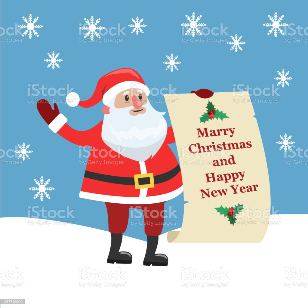 Mery Christmas.Isolated Happy Santa Claus With Mery Christmas Stock