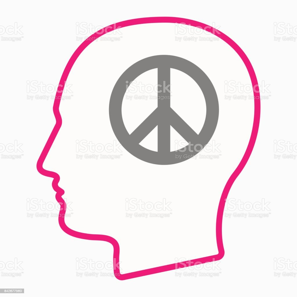 Isolated Head With A Peace Sign Stock Vector Art More Images Of