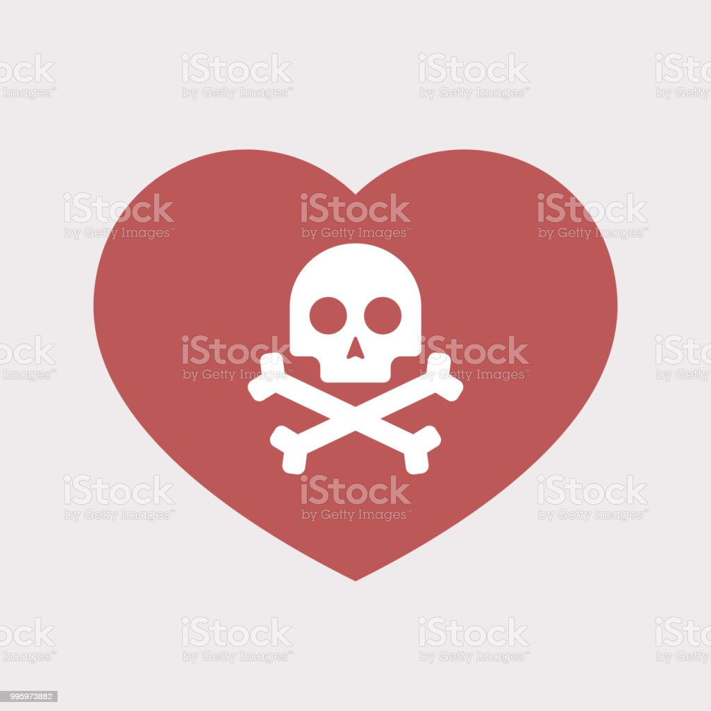 Isolated heart with a skull
