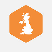Isolated hexagon with  a map of the UK