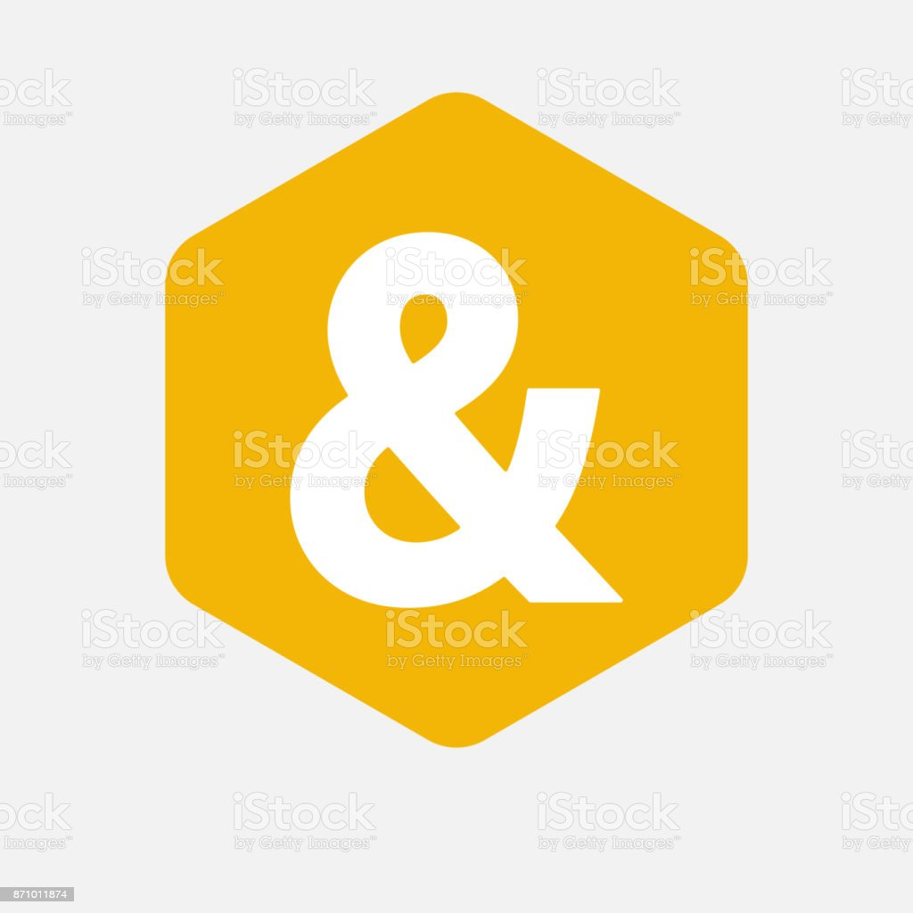 Isolated hexagon with an ampersand vector art illustration
