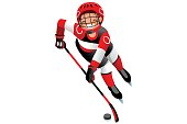 Ice hockey vector cartoon clipart. Winter sports background with hockey athlete playing winter sportss competition. 3D flat Isolated isometric people illustration.