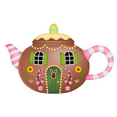 Isolated house in shape of teapot with flowers and easter egg vector