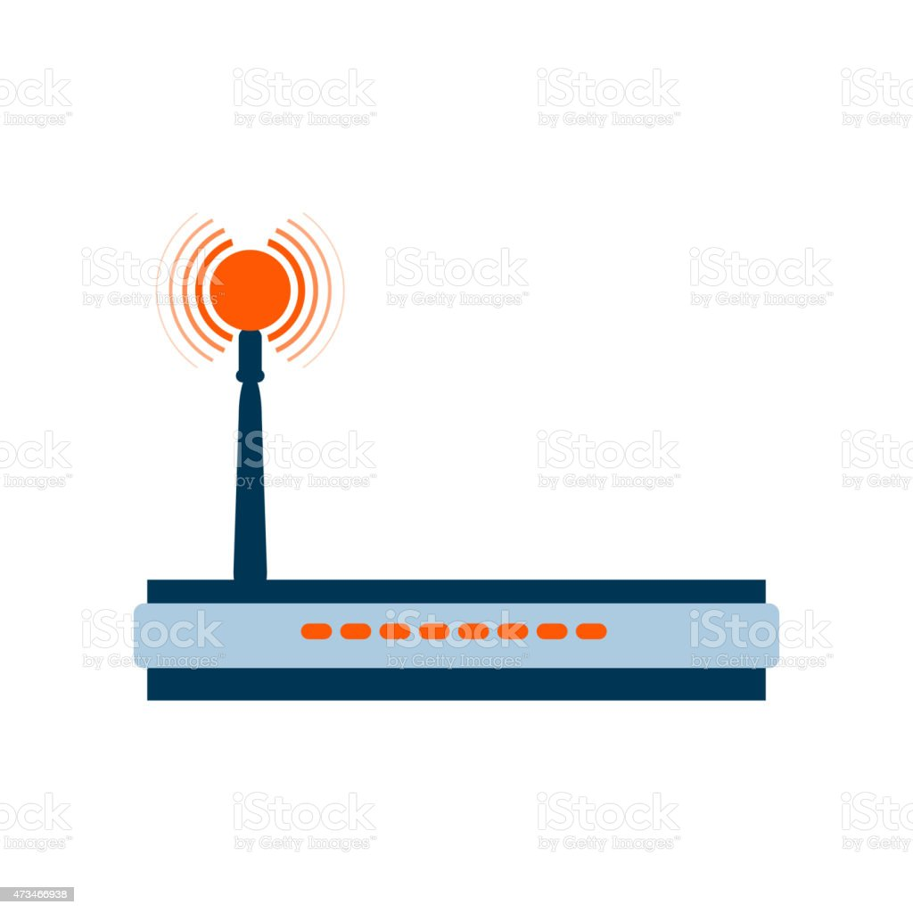 Isolated icon internet modem in a flat style vector art illustration