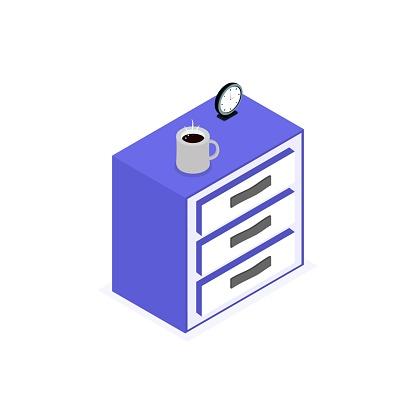 Isolated icon of isometric nightstand