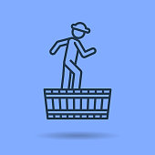 Vector isolated thin line icon of worker pressing grapes on blue background. Linear web pictogram