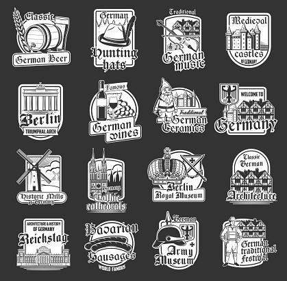 Isolated icons of German travel landmarks