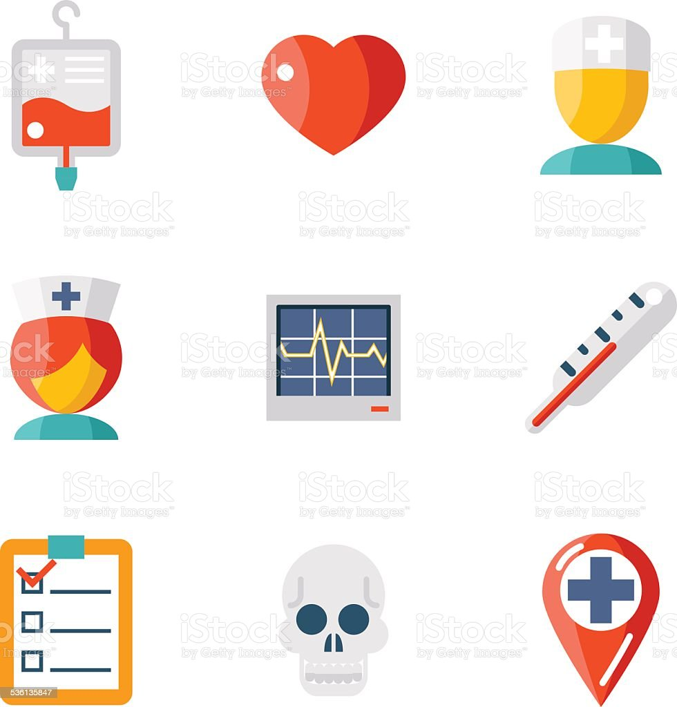 Isolated icons set Medical vector art illustration