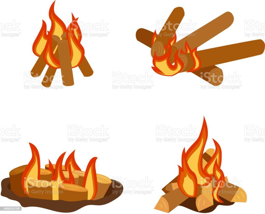 Kamp Ateşi Izole çizimi Yakıcı şenlik Ateşi Ve Yakacak Odun Yığını