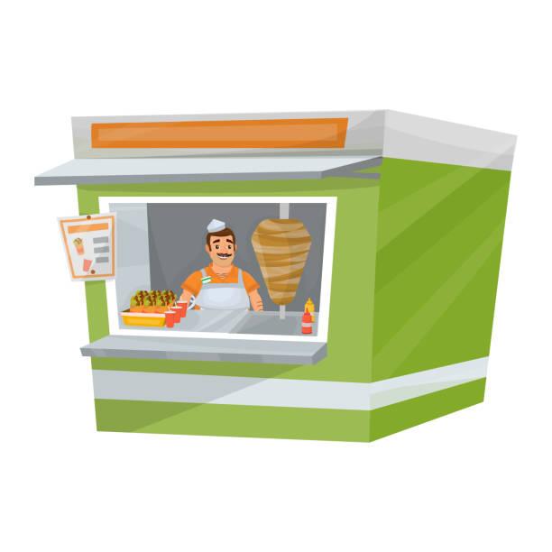 isolierte darstellung der straße stehen mit verkäufer innerhalb - döner stock-grafiken, -clipart, -cartoons und -symbole