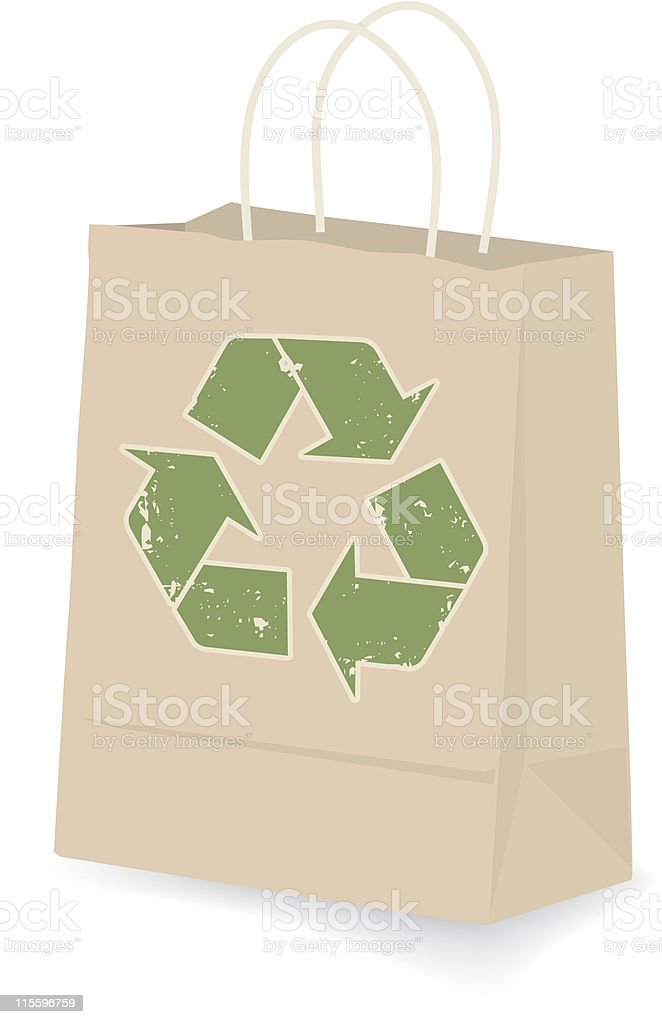 Isolated image of a shopping bag made of recyclable material royalty-free stock vector art