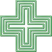 Neon style pharmacy symbol