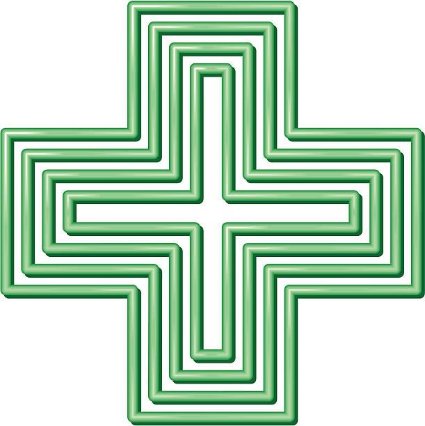 illustrazioni stock, clip art, cartoni animati e icone di tendenza di croce verde - croce farmacia